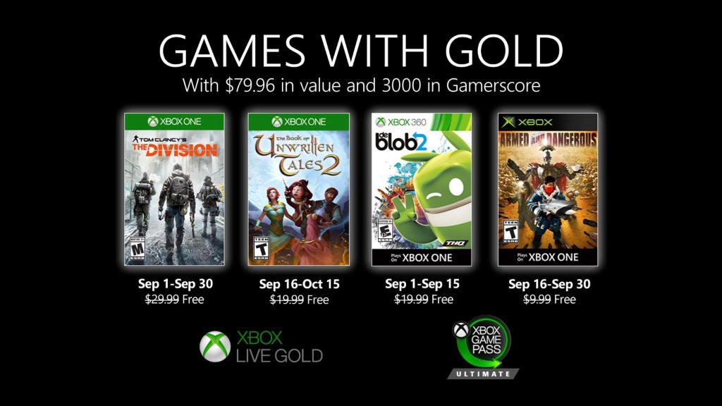 Monatlich kostenlose Spiele mit Xbox Live Gold und Xbox Game Pass Ultimate - September 2020