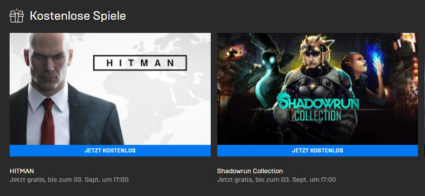 PC-Games kostenlos - Hitman und Shadowrun Collection gratis bis zum 03.09.