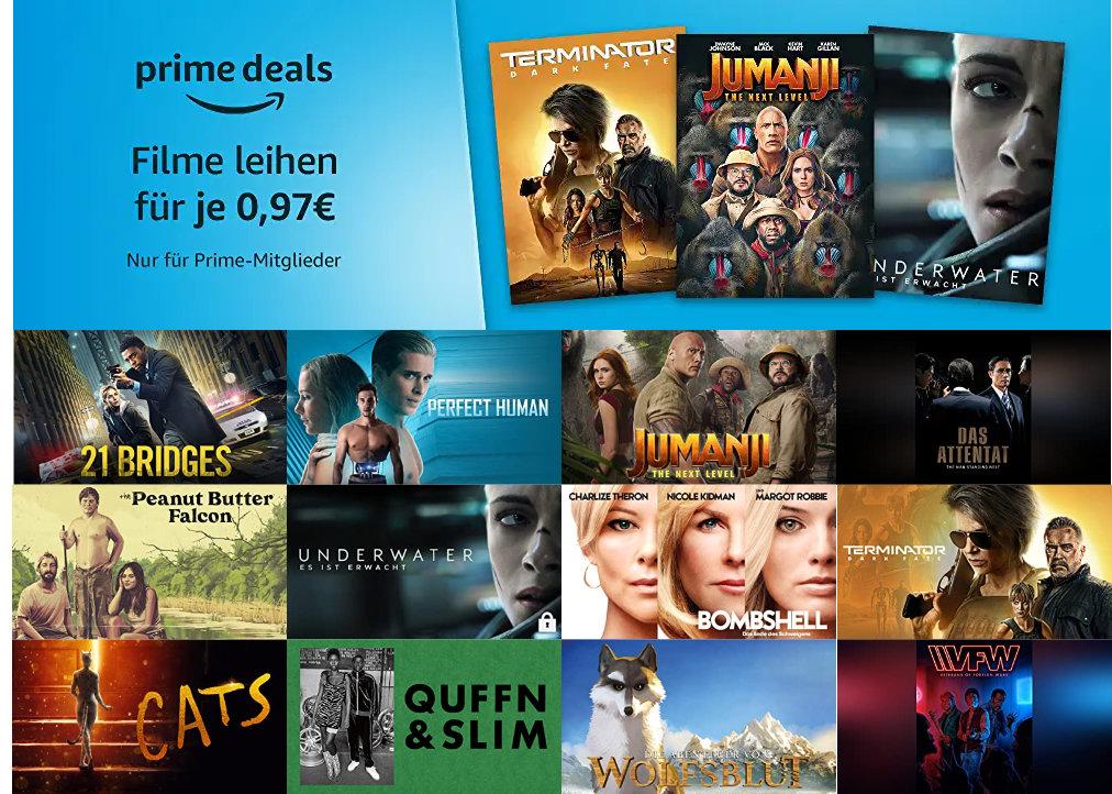 Prime Deals - 30 Filme für je 97 statt 99 Cent leihen - August 2020