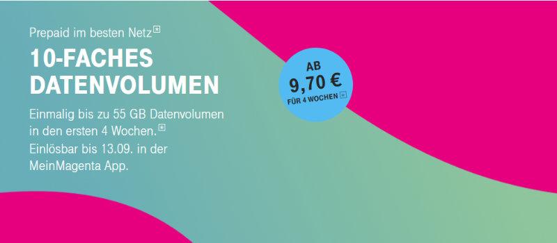 Einmalig 10-faches Datenvolumen für Prepaid bei der Telekom