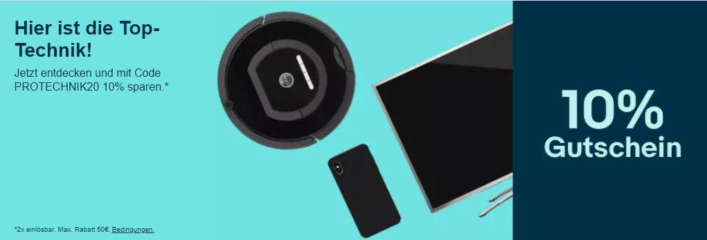 10% eBay Gutschein September 2020 - PROTECHNIK20 - Computer, Smartphones, Tablet, Gaming und mehr