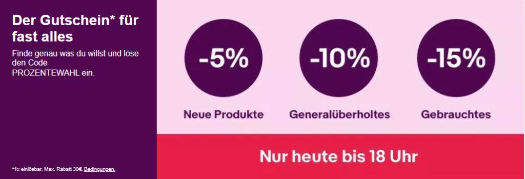 5 bis 15% eBay Gutschein September 2020 - PROZENTEWAHL - Computer, Smartphones, Tablet, Gaming und mehr