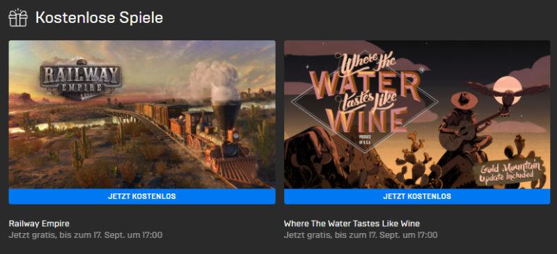 PC-Games kostenlos - Railway Empire und Where The Water Tastes Like Wine gratis bis zum 17.09.
