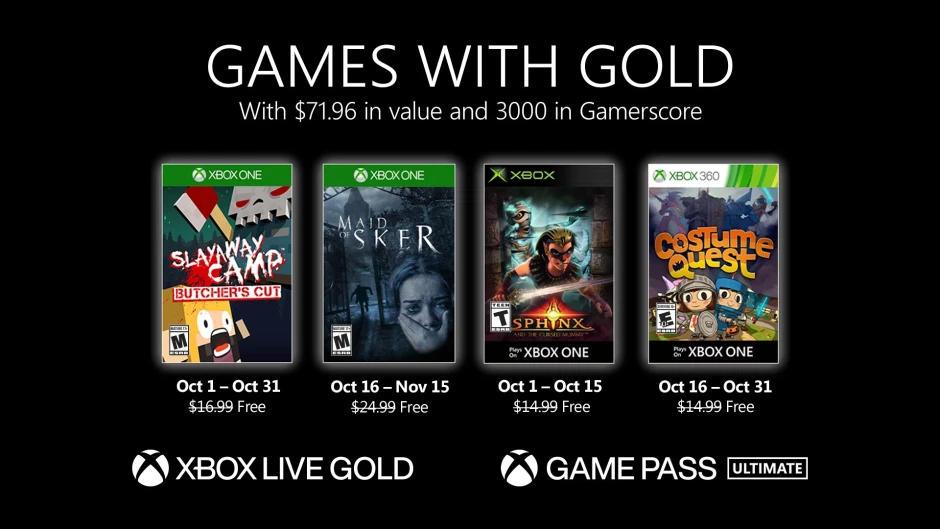 Monatlich kostenlose Spiele mit Xbox Live Gold und Xbox Game Pass Ultimate - Oktober 2020