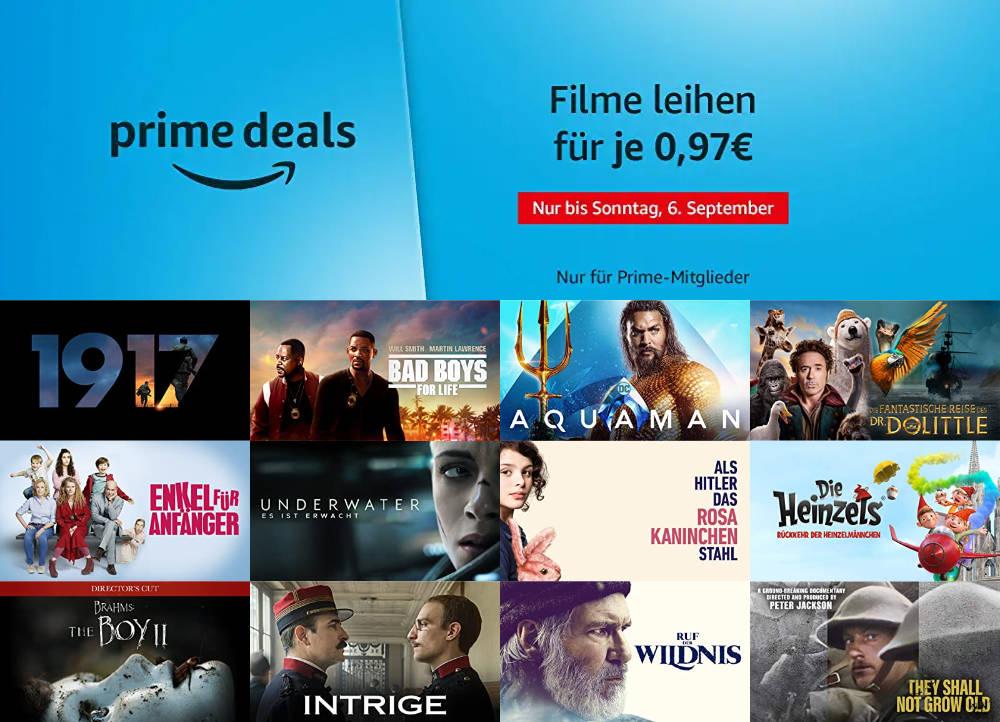 Prime Deals - 30 Filme für je 97 statt 99 Cent leihen - September 2020