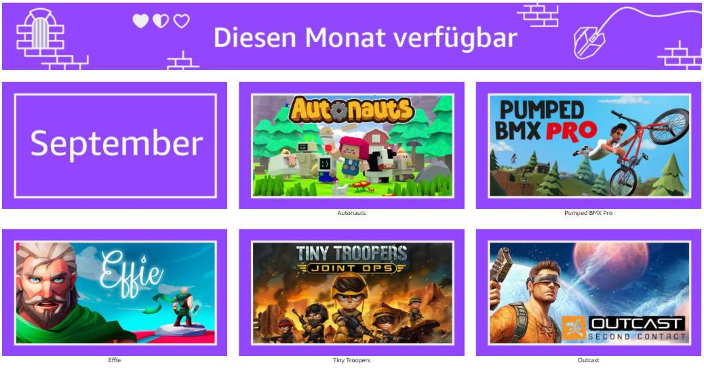 Prime Gaming - jeden Monat 5 kostenlose Computerspiele für Mitglieder - September