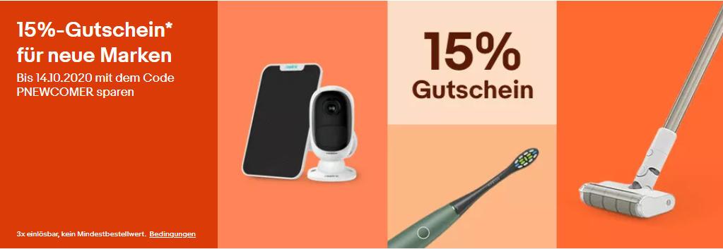 eBay Gutscheine: 15% Rabatt Gutschein auf neue Marken - Xiaomi, Dreame, Reolink, Roborock, Holy Stone und mehr