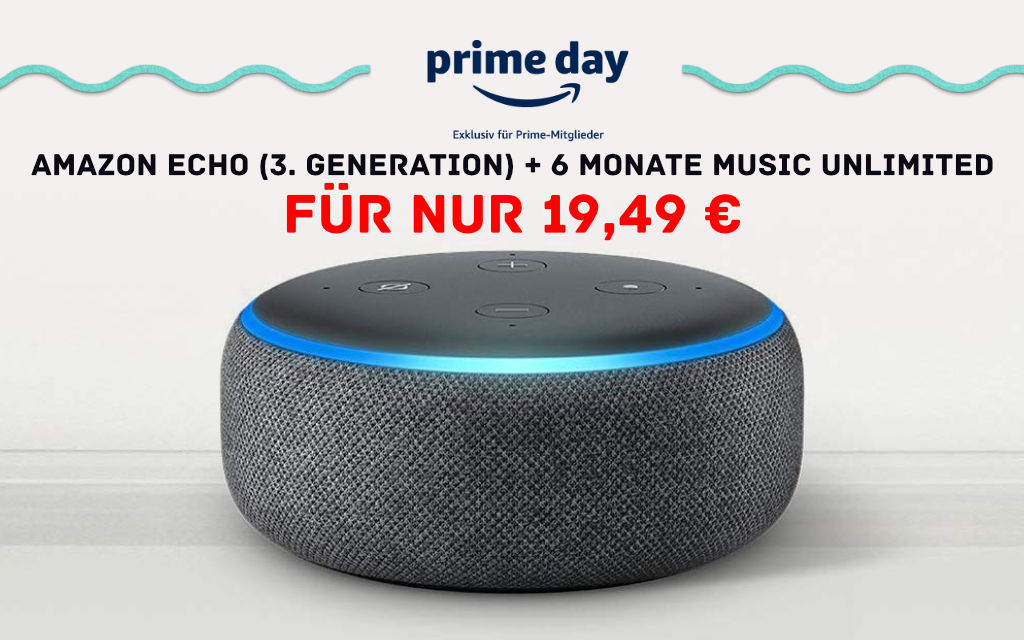 Amazon Echo Dot mit 6 Monaten Music Unlimited für 19,49 € am Prime Day