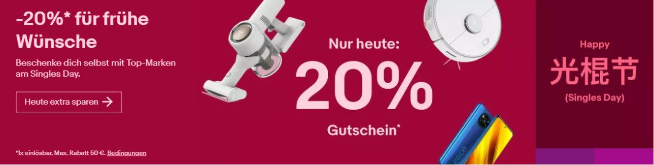 eBay Gutscheine: 20% Rabatt Gutschein auf Technik und mehr - Xiaomi, Honor, Dreame, Reolink, , Holy Stone und mehr