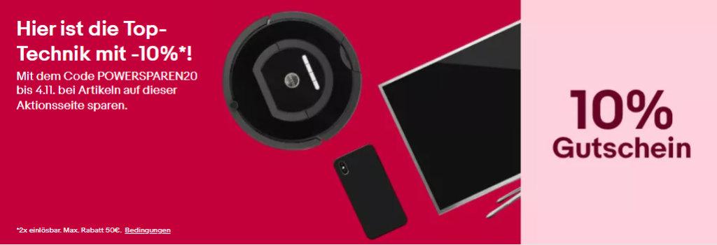 10% eBay Gutschein Oktober / November 2020 - PROSPAREN20 - Computer, Smartphones, Tablet, Gaming und mehr