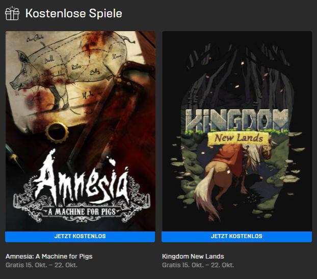 PC-Games kostenlos - Windows und Mac - Amnesia: A Machine for Pigs und Kingdom New Lands kostenlos bis zum 22.10.