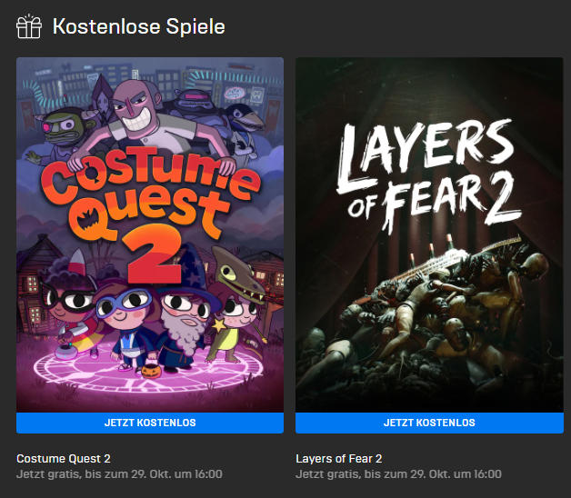 PC-Games kostenlos - Windows - Costume Quest 2 und Layers of Fear 2 kostenlos bis zum 22.10.