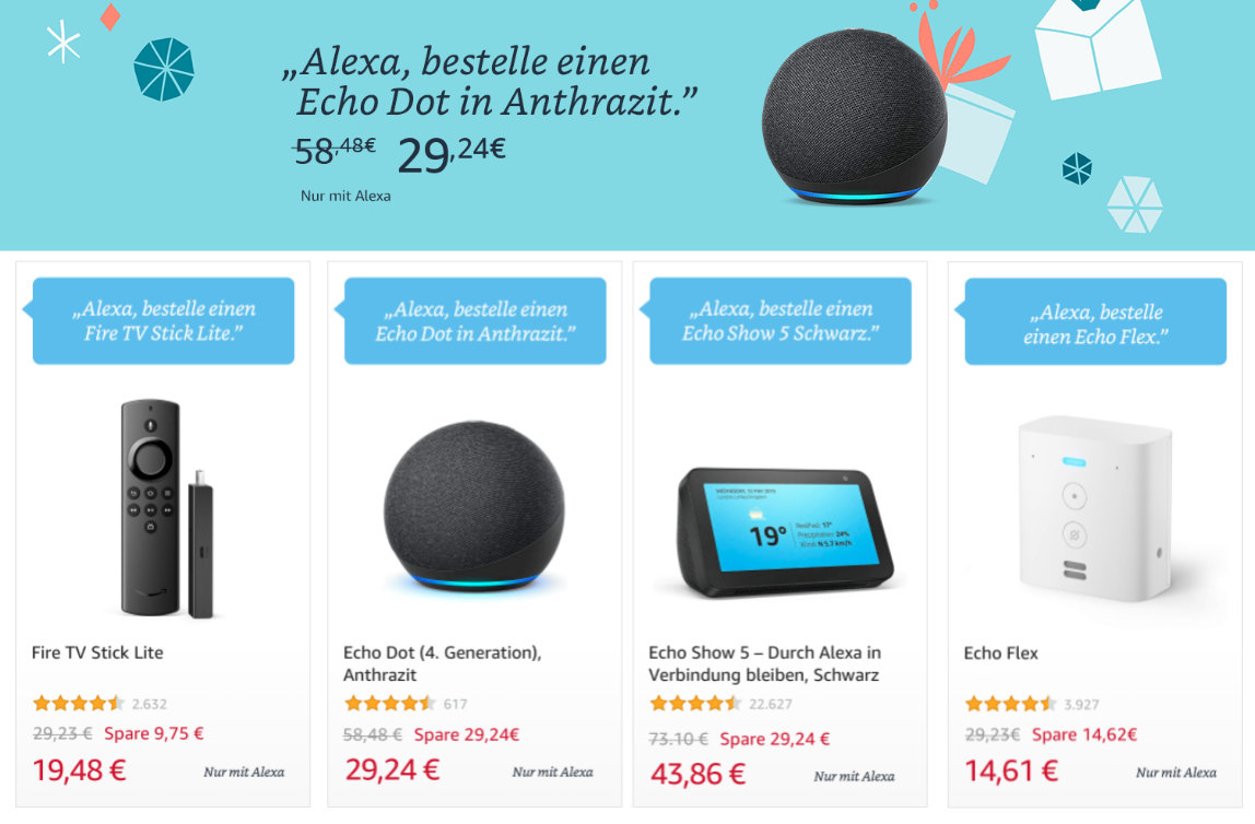 Echo Dot 4 für unter 30 Euro - Fire TV Stick Lite unter 20 Euro, Echo Show 5 unter 45 €