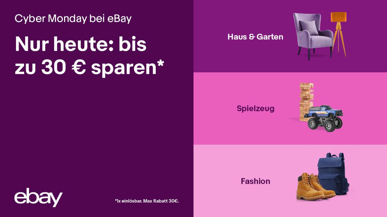 Cyber Monday 2020 bei eBay - Gutschein bis 30 Euro
