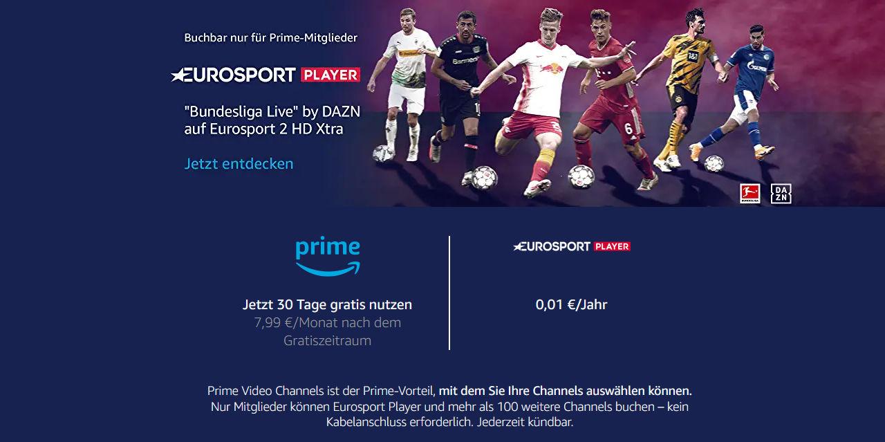 Bundesliga Live by DAZN für einen Center über Eurosport Player und Prime Video