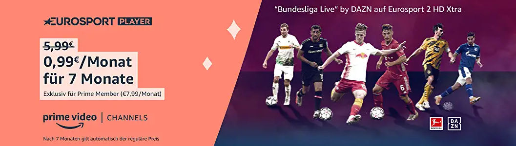 Bundesliga Live by DAZN für 99 Cent über Eurosport Player und Prime Video
