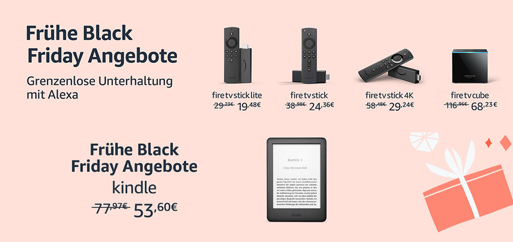 Fire TV Stick (inkl. 4K), Fire TV Cube, Kindle eReader, Fire Tables und mehr - Black Friday Countdown