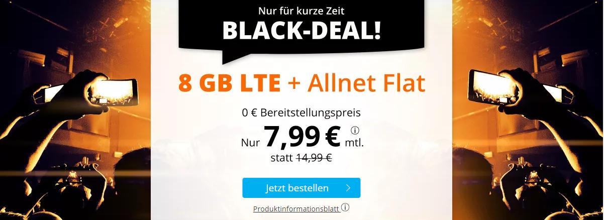 Sim.de - günstige Allnet-Flat mit Telefonie, SMS, 8 GB Datenvolumen LTE inkl. EU Roaming