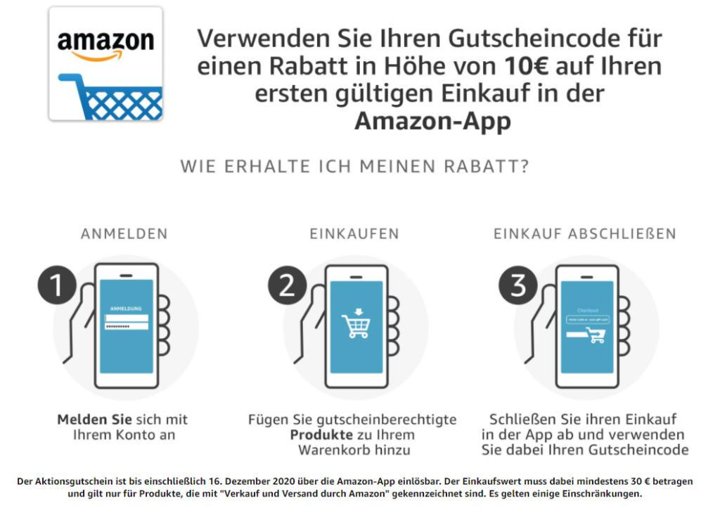 10 Euro Amazon Aktionsgutschein - Neunutzer - Dezember 2020 - amazon.de