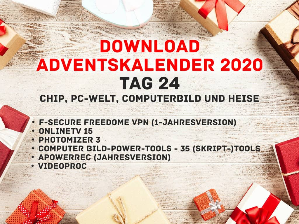 Download Adventskalender 2020 - Online - Gratis Vollversionen - Chip, PC-Welt, Heise und Co