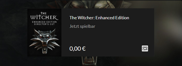 GOG verschenkt The Witcher in der Enhanced Edition