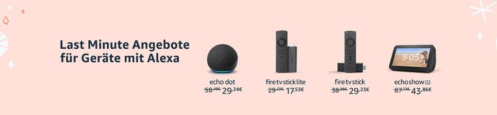 Amazon Last Minutre Angebote Woche- Angebote für Echo Dot, Echo Auto, Echo Show, Fire TV, Kindle und mehr gestartet