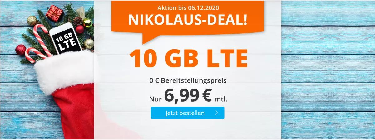 sim.de - 10 GB LTE-Datenvolumen mit 60 Freiminuten für 6,99 Euro im Monat