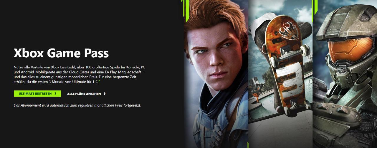 Xbox Game Pass Ultimate - Angebot - 3 Monate für 1 Euro - Neukunden und ehemalige Bestandskunden