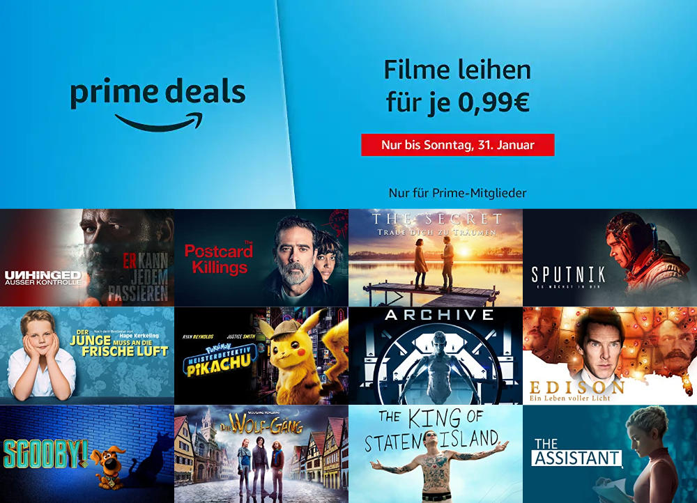 Prime Deals - 23 Filme für je 99 Cent leihen - Januar 2021 - auch 4K UHD