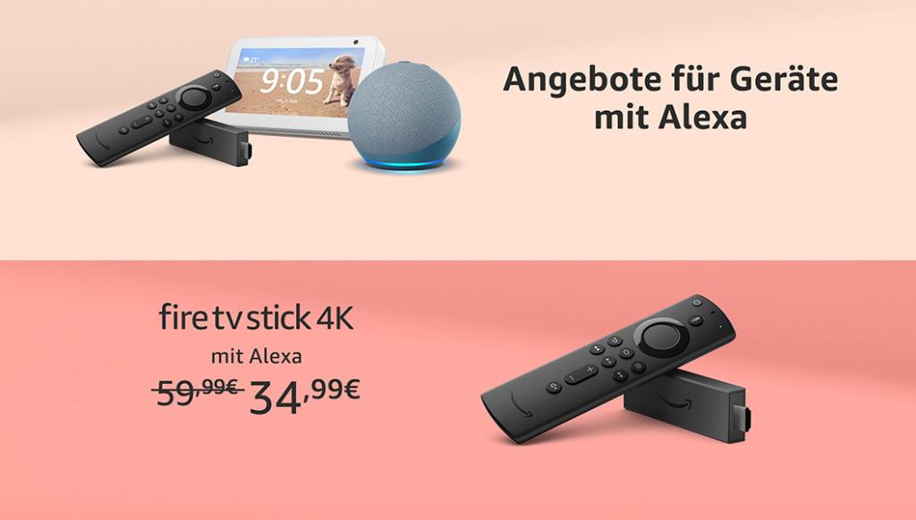 Amazon Fire TV Stick (4K), Echo, Echo Dot, Echo Show 5/8, Echo Flex, Kindle Paperwhite, Fire Tables und mehr reduziert