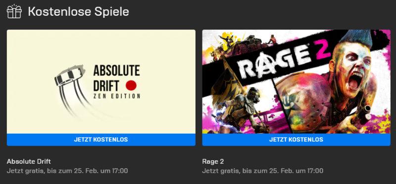 PC-Games kostenlos - Rage 2 (Windows) und Absolute Drift - Zen Edition (Windows/Mac) kostenlos bis zum 25.02