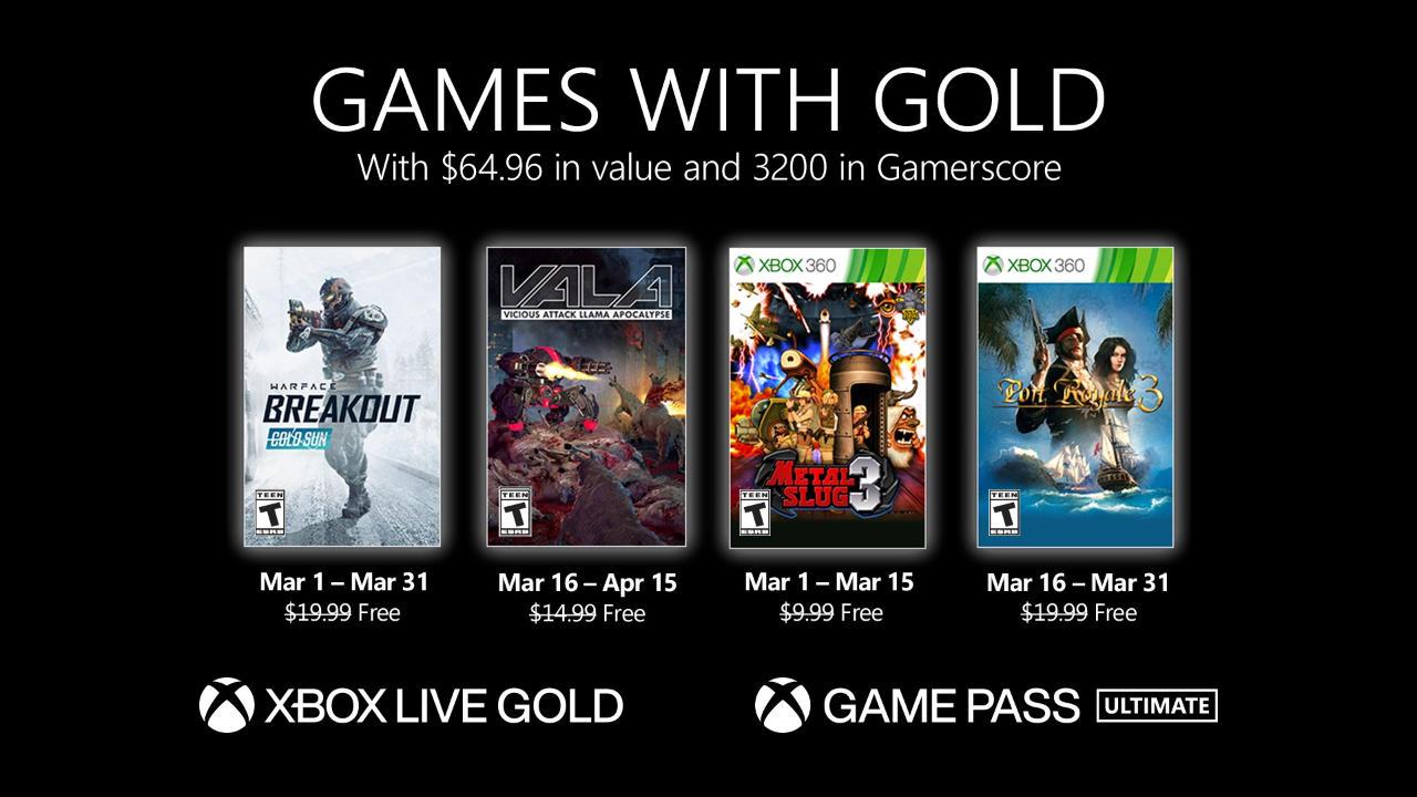 Monatlich kostenlose Spiele mit Xbox Live Gold und Xbox Game Pass Ultimate - März 2021