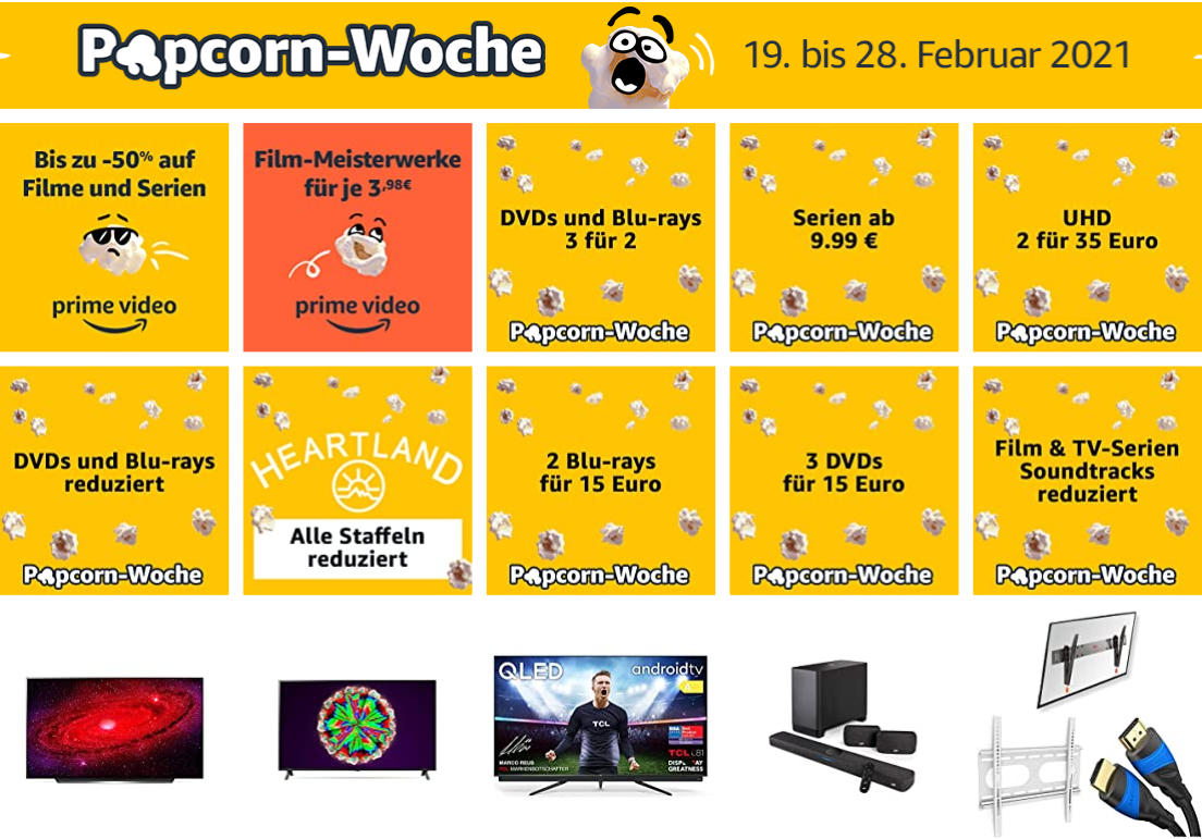 Amazon Popcorn-Woche 2021 - Angebote in Sachen Heimkino & Entertainment
