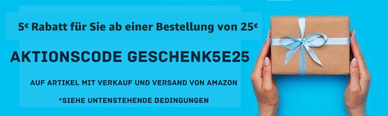 Amazon 5 Euro Gutschein / Aktionscode für Bestellungen ab 25 Euro - Mai 2021
