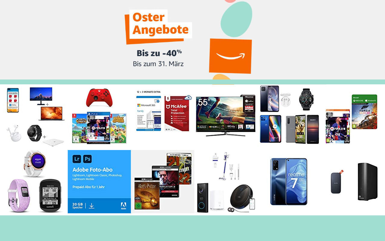 Amazon Osterangebote 2021 - bis zu 40% Rabatt - Angebote, Aktionen und Gutscheine - Tag 1
