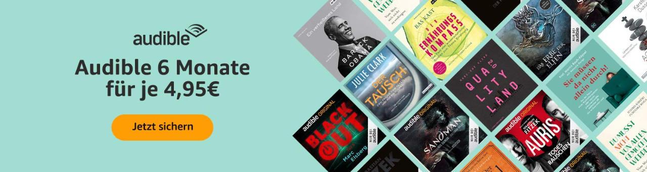 Audible Hörbücher günstiger - 4,95 € im Monat bis zum 07.04.2021 - Osteraktion