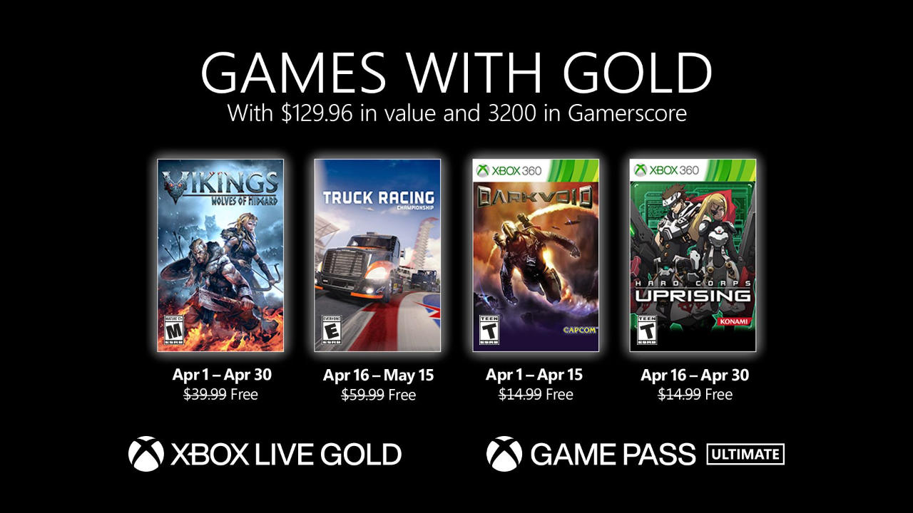 Monatlich kostenlose Spiele mit Xbox Live Gold und Xbox Game Pass Ultimate - April 2021