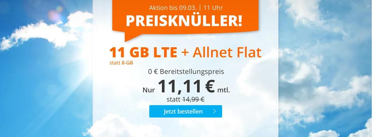 Sim.de - günstige Allnet-Flat mit Telefonie, SMS, 11 GB Datenvolumen LTE inkl. EU Roaming