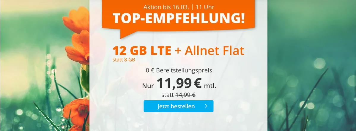 Sim.de - günstige Allnet-Flat mit Telefonie, SMS, 12 GB Datenvolumen LTE inkl. EU Roaming