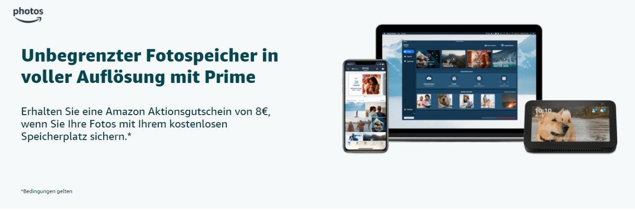 8 Euro Amazon Aktionsgutschein - einfach erstes Foto mit Amazon Photos App hochladen - April 2021