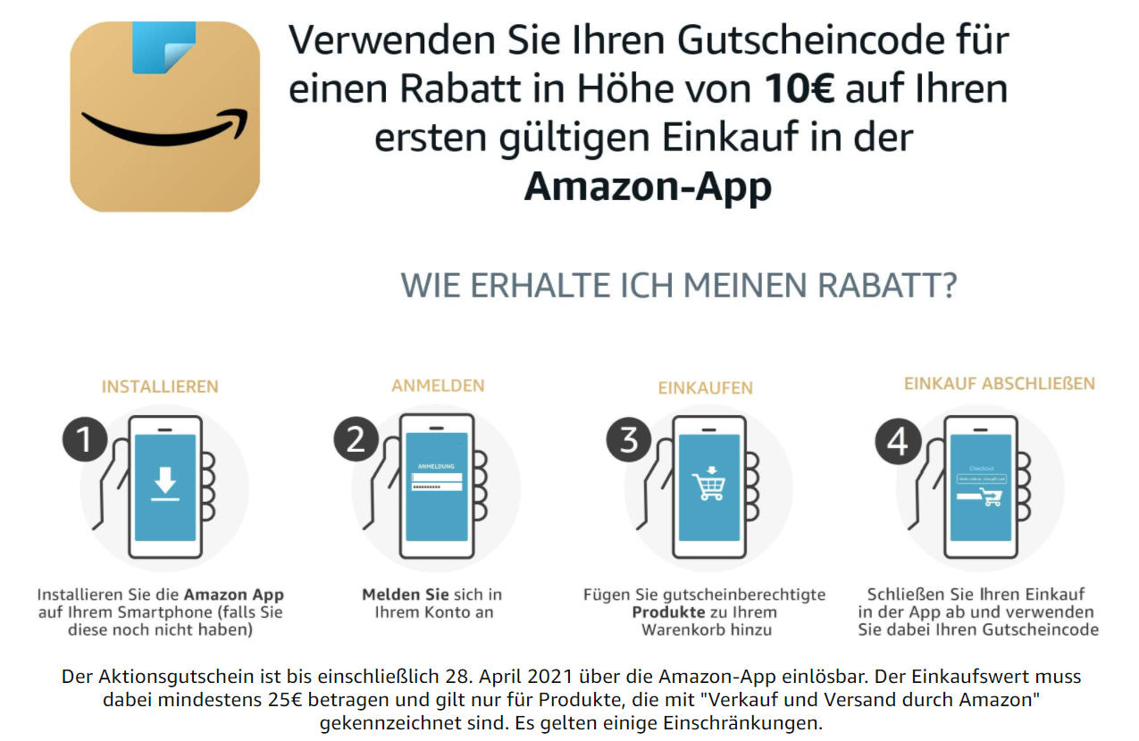 10 Euro Amazon Aktionsgutschein - für ersten Einkauf mit der Amazon-App - April 2021 - amazon.de