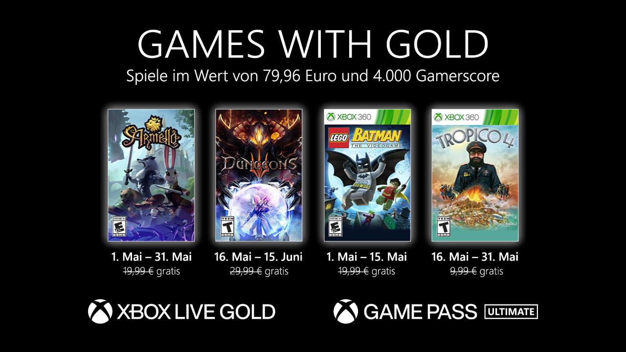 Monatlich kostenlose Spiele mit Xbox Live Gold und Xbox Game Pass Ultimate - Mai 2021
