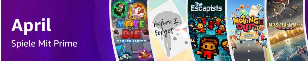 Prime Gaming - jeden Monat 5 kostenlose Computerspiele für Mitglieder - April 2021