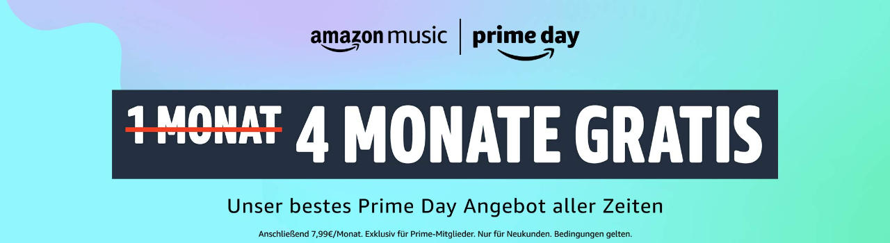 Amazon Music Unlimited (HD) bis zu 4 Monate gratis zum Prime Day 2021