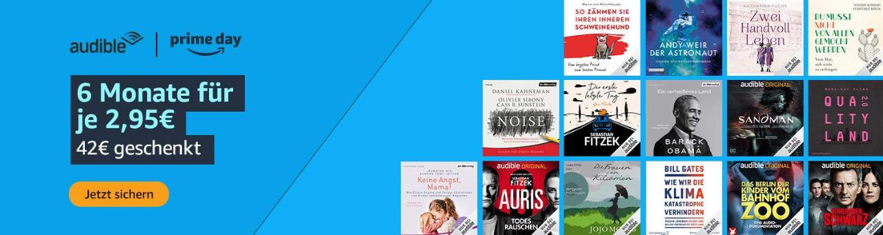 Audible Hörbücher günstiger - 2,95 € im Monat bis 22.06.2021 - Prime Day 2021