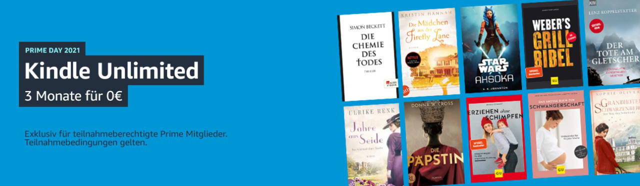 Kindle Unlimited - 3 Monate gratis - Prime Day 2021 - eBooks gratis
