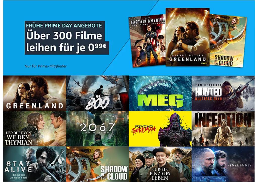 Über 300 Filme für je 99 Cent ausleihen - Juni bei amazon.de - Heimkino Schnäppchen vorm Prime Day 2021