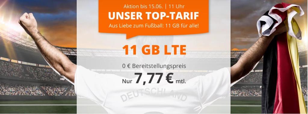 sim.de - 11 GB LTE-Datenvolumen mit 60 Freiminuten für 7,77 Euro im Monat