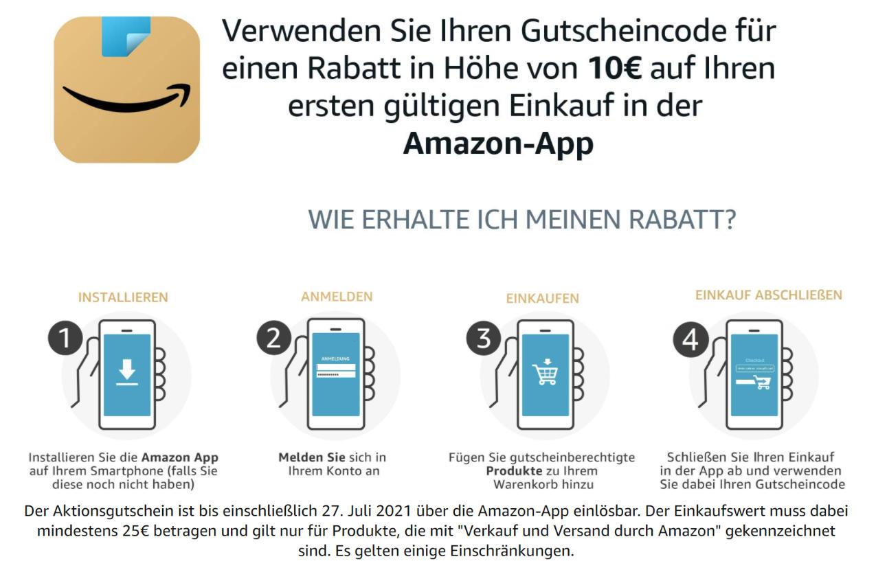 10 Euro Amazon Aktionsgutschein - für ersten Einkauf mit der Amazon-App - Juli 2021 - amazon.de