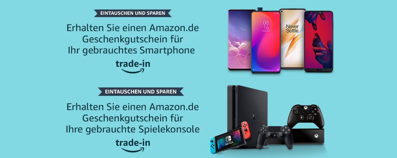 Amazon - Ankauf von gebrauchten Smartphones und Konsolen gegen Geschenkgutschein